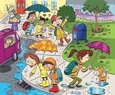 """Highlights Hidden Pictures Puzzles - Find 6 hidden words in """"Fun in the rain. Hidden Words In Pictures, Highlights Hidden Pictures, Hidden Picture Puzzles, Hidden Photos, Word Puzzle Games, Word Puzzles, Communication Orale, Picture Comprehension, Picture Composition"""