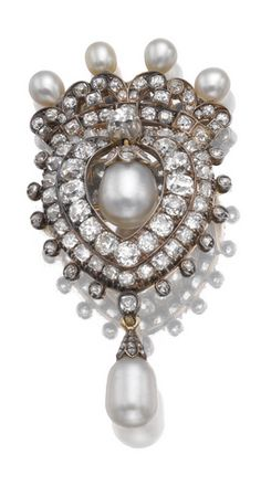 NATURAL PEARL AND DIAMOND BROOCH/PENDANT, CIRCA 1880 Composed of a heart and crown motif, set with natural pearls, suspending two natural pearl drops, one detachable, set with cushion-shaped, single-cut and rose diamonds, pin and pendant fittings, fitted case signed S. J. Phillips Ltd.