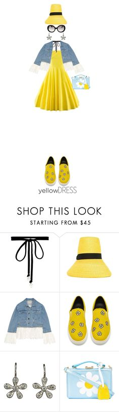 """""""Daisy"""" by kathyaalrust ❤ liked on Polyvore featuring Joomi Lim, Dsquared2, Sea, New York, Cathy Waterman, Mark Cross, Prada and yellowdress"""