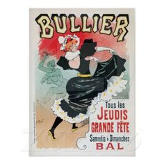 Vintage French cancan belle époque dance hall dancing advertising poster (also on postcards)
