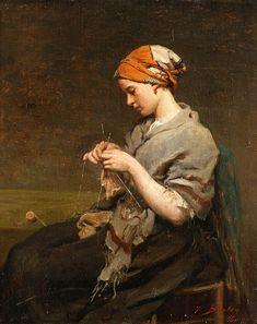 Girl Knitting Painting by Jules Breton