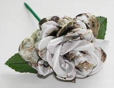 White Camouflage Rose - Camo Bridal Bouquet - Camo Rose - Satin Camo Rose - Camo Wedding