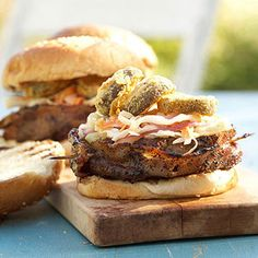 Bacon-Wrapped Burger with Fried Pickles & Slaw