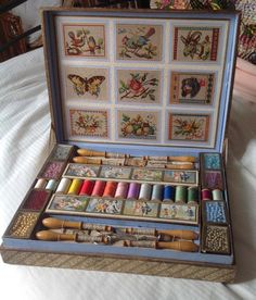 """French Antique childs sewing presentation box. made by Perles 8 glass topped boxes of beads. 12.5i"""" X 10""""."""
