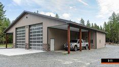 Steel Garage Buildings, Pole Buildings, Metal Garages, Shop Buildings, Garage Building Plans, Metal Shop Building, Post Frame Building, Garage Plans, Pole Barn Garage