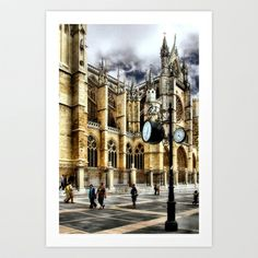 Leon Cathedral, Spain Art Print by Vitor Ribeiro - $12.48 Located in northwest Spain along the Camino de Santiago, León Cathedral (Catedral de Santa María de Regla de León) is a French-style Gothic cathedral built in the 13th century over the ruins of ancient Roman baths.