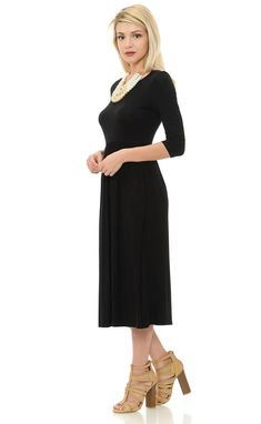 Fit and Flare Midi Dress with Pockets Black Solid Vertical Striped Dress, Strappy High Heels, Flare Skirt, Fit And Flare, Beautiful Dresses, Going Out, High Neck Dress, Dresses For Work, Solid Colors
