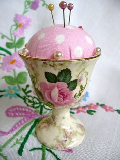 Vintage egg cup pincushion