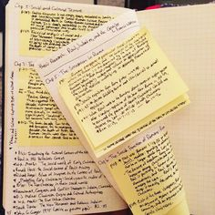 """Thesis research notes are now also being stuffed into my bullet journal. I do a 'stack' of post-its per chapter, taping each in to make sure they don't…"""