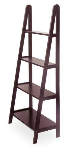 Winsome 4-Tier Ladder A-Frame Bookshelf by Winsome. $78.35. Product Dimensions: 25 in x 13 in x 58 in. 4-Tier A-Frame Shelf. Finish: Dark Espresso. Assembly Required: Yes. Distinctive A -Frame design offers a sleek and modern look. 4 sturdy shelves, different depths narrowing toward top. Made of sturdy beech wood with an elegant dark stain. Features: Ladder bookcase comes in espresso finish Constructed from sturdy beech wood 4 sturdy shelves for plenty of storage and ...