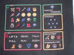 Link to the Past item screen cross stitch by GameofThreads