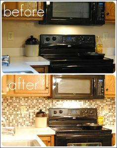 FromOurPlaceToYours: DIY Backsplash Kit Installation and Review - I want to do this sooo bad to my kitchen.. I wish my granite went all the way to the cabinets