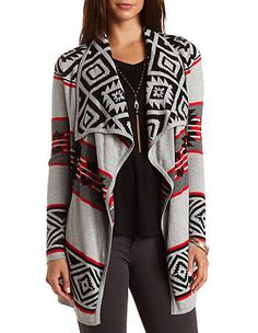 Aztec Cascade Cardigan Sweater: Charlotte Russe