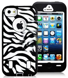 Amazon.com: myLife (TM) White + Black Zebra Stripes Survival Armour Suit (Built in Screen Protector) 3 Layer Case for iPhone 5/5S (5G) 5th G...