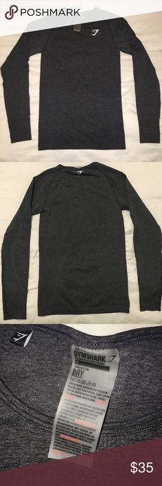 GYMSHARK SEAMLESS LONG SLEEVE TOP GYMSHARK Vital Seamless Long Sleeve Top in BLACK MARL. Size M. Only worn once, I'm selling it because it's too small for me. Gymshark Tops Tees - Long Sleeve