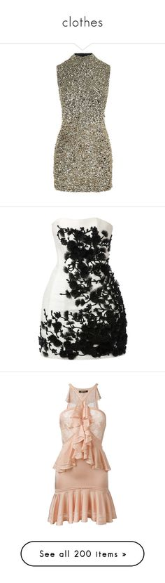 """clothes"" by ms-perry ❤ liked on Polyvore featuring dresses, sequin cocktail dresses, sparkly cocktail dresses, gold sequin dress, high neck cocktail dress, sequin dress, short dresses, vestidos, a line mini dress and mini dress"