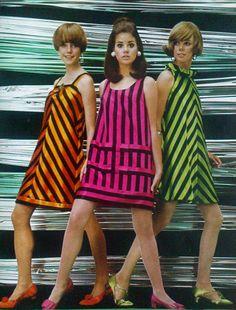 Mod 60s striped vintage glimmer look fashion dresses.