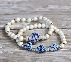 Blue and White Ceramic Fish Bead Bracelets