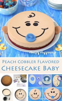 Wow your family and friends at your baby shower by serving this cute Peach Cobbler Flavored Cheesecake Baby. It tastes as sweet as it looks. Tutorial at HungryHappenings.