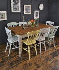Enjoy Springtime all year round with this pretty pastel multi-coloured farmhouse set. With a mix-match of 8 antique dining chairs, they won't be around for long! http://www.thetreasuretrove.co.uk/tables/8-seater-multi-coloured-pastel-farmhouse-dining-set