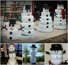 Recycled Tire Snowmen, might be able to repurpose the tires I painted for flowers, since I can't seem to get flowers to live. lol