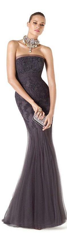 Glamorous Lace & Chiffon grey Mermaid Gown with large statement necklace jewels...Sooo Stunning!
