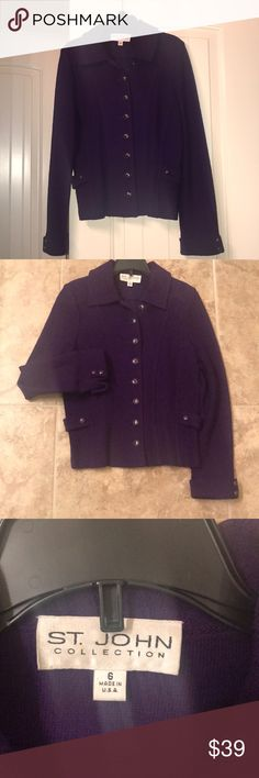 St. JOHN Collection Knit Jacket Sz 6 St. John Collection Purple Jacket Sz 6 St. John Collection Jackets & Coats