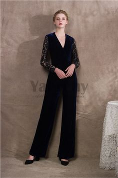 5ee0451bd4b 2019 Fashion V-neck Velvet Womens Jumpsuits Dark navy prom dresses - Prom  Dresses - Wedding   Events