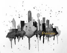 "Gold Foil Dallas Texas Skyline Giclee Canvas Art Print 8x10, 11x14 or 16x20 On Gallery Wrapped Canvas by Artist Amber McDowell. Giclee canvas art print of my original watercolor Dallas Texas skyline. This piece is embelished graphically with gold foil wording ""Dallas"". (please note, this is not actual gold foil. It is created in photoshop with a gold foil color) Gallery wrapped canvas is printed with 100% archival inks with a 12 color process for perfect vibrant colors. These prints come..."