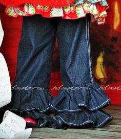 Girls Double Ruffle Denim Pants by ISADORAKIDS on Etsy, $39.00