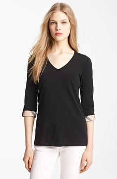 great with jeans in Fall Burberry Brit Roll Sleeve Tee available at #Nordstrom