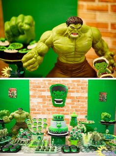 This pin was discovered by courtney. Hulk Birthday Parties, Superhero Birthday Party, Birthday Party Decorations, Boy Birthday, Birthday Ideas, Incredible Hulk Party, Hulk Cakes, Avengers Birthday, Snacks Für Party