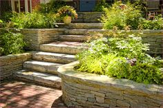Stairs and Steps - Landscaping and Landscape Design for Patio, Retaining Wall, Backyard and Cheap Retaining Wall, Retaining Wall Design, Building A Retaining Wall, Stone Retaining Wall, Building Stone, Bungalow Landscaping, Stone Landscaping, Landscaping Retaining Walls, Backyard Landscaping