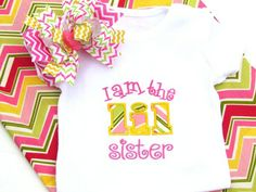 We've added I am a BIG Sister and I am a Lil Sister appliqued shirts as well as matching chevron hair bows! www.beckysbowboutique.com Little Diva, Boutique Hair Bows, Chevron, Applique, Sisters, Big, Mens Tops, Shirts, Fashion