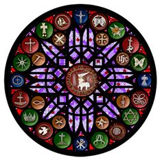 "Rose Window Depicting Chrismons - View the ""Chrismons Basic Series"""