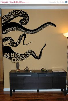 gold decal to go in bathroom  NEW SALE Large Kraken/Octopus Tentacles Vinyl Wall Decal-Choose Any Color. $55.24, via Etsy.