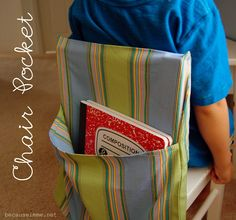 Chair Pocket tutorial. Love this idea for the elementary classroom!!