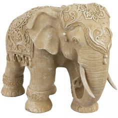 """20"""" Rustic Jeweled Elephant Statue from Oriental Furniture"""