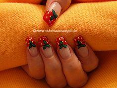 Nail art motivo 223 - Fresa en motivo de uñas y esmalte - http://www.schmucknaegel.de/