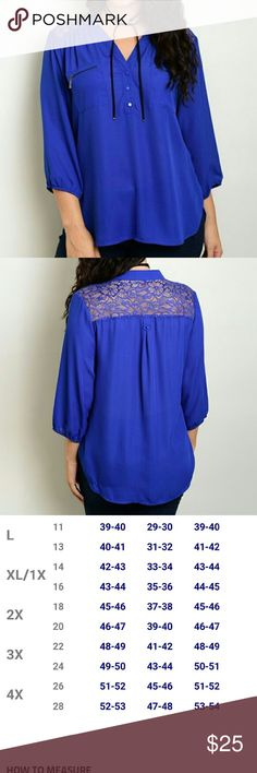 Royal blue lace blouse True to color Sizing (Xl16)(2x 18)(3x 20) Tops Blouses