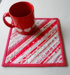 Selvage Valentine Quilted Mug Rug Snack Mat by ForgetMeNotQuilteds