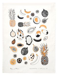 Tropical Fruit Tea Towel. Would love to have this framed in my kitchen