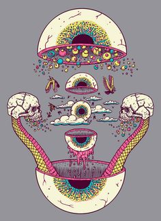 Eyeballs, guts, skulls, clouds, art. Artist?