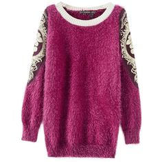 Chicnova Fashion Palace Embroidery Stuffed Round Neckline Sweater (115 BRL) ❤ liked on Polyvore featuring tops, sweaters, chicnova, round neck sweater, purple top, round neck top, embroidery top and purple sweaters