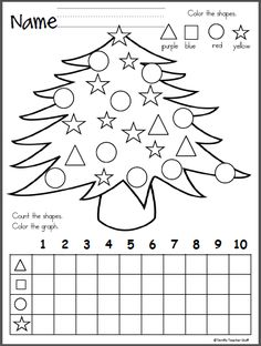 This is a Christmas tree themed activity for your Kindergarten students to practice shapes and graphing. It is a wonderful math activity for any winter month. FREE