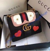 Gucci GG Marmont Leather Shoulder Bag GU431382-black