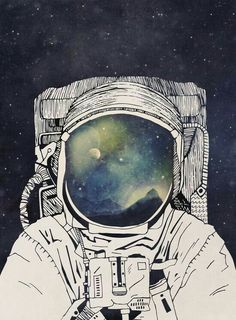 wall Tapestry Space - Dreaming Of Space' Poster by Tracie Andrews. Forest Poster, Vintage Robots, Kunst Poster, Poster Poster, Art Watercolor, Astronauts In Space, Arte Popular, Art Graphique, Street Art