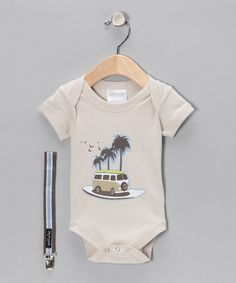 Surfer baby!   Beige Surf Bodysuit & Pacifier Clip by Baby Dry Goods on #zulily today!
