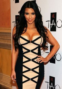 Party Dresses New Fashion 2014 Kim Kardashian Dress Short Apricot&Black Stripes Criss-Cross Sexy Halter Celebrity Bandage Dress $38,93
