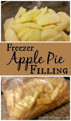 Freezer Apple Pie Filling The Sparrow's Home is part of Apple pies filling - This apple pie filling for the freezer is beyond easy! Freezing apple pie filling is an easy way to preserve apples for a warm & gooey apple pie all winter long Apple Pie Recipes, Fruit Recipes, Dessert Recipes, Apple Pies, Frozen Apple Pie Recipe, Freezable Apple Pie Recipe, Apples For Apple Pie, Drink Recipes, Apple Recipes Easy Quick